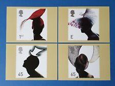 Set of 4 PHQ Stamp Postcards Set No.232 Fashion Hats 2001 GC3