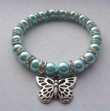 Baby Blue Glass Pearl & Diamante Elastic Bracelet Tibetan Silver Butterfly Charm
