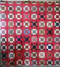 "Antique~FINE ALL HAND STITCHED PIECED ""NINE PATCH"" PATCHWORK QUILT 83""X77"""