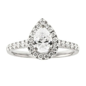 GIA 1.45ct Natural Diamond Engagement Ring 14K White Gold Pear Shape I Color