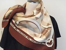 LONGCHAMP Authentic Silk Equestrian Scarf 66cm x 66cm Hand-rolled Edges