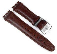 Uhrenarmband Ersatzband Leder Band dunkelbraun passend zu Swatch 19mm 20269s