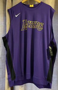 Nike Men 2XLT Los Angeles Lakers NBA Team Issue Practice Purple Shirt AV0965-504