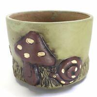 "Mid Century Modern Mushroom Snail Daisy Pottery Planter Pot 4"" x 5 1/4"""