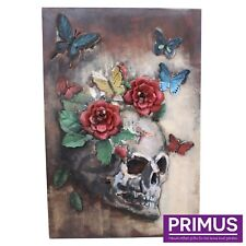 Primus Floral Skull Multi Coloured 3D Hand Crafted Metal Wall Art / Sculpture