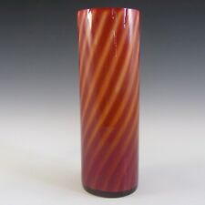 Elme 1970s Scandinavian Orange Cased Glass Striped Vase