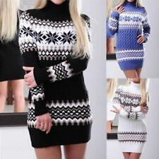 Women High Neck Knitted Sweater Tops Pullover Bodycon Jumper Slim Dresses JJ