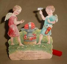 Vintage Victorian Mechanical Valentine German Card Angels Nutcrackers w/ Anvil