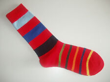 🇬🇧 STRIPED SOCKS Mens 80% MERINO WOOL Red/Navy/Blue/Yellow/Orange Striped wide