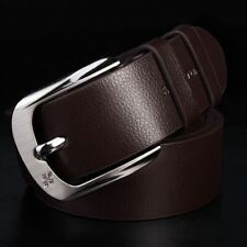 Classic Formal Brown Pin Buckle Leather Belt 110cm/43in Length Medium Size