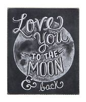 """LOVE YOU TO THE MOON AND BACK Wooden Box Sign 5"""" x 6"""", by Primitives by Kathy"""