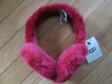 UGG AUSTRALIA RED SHEARLING EARMUFFS LARGE UGG BUTTON, NWT, ONE SIZE