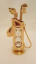 CRYSTOCRAFT SOUVENIR GOLF BAG 24K GOLD PLATED WITH SWAROVSKI CRYSTAL FROM DUBAI