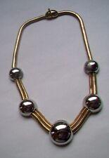 Vintage Lanvin Paris Modern Silver & Gold Tone Choker Necklace