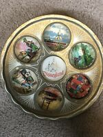 "Vintage 1950s Disneyland Souvenir Gold  Tin Drink  Metal Serving Tray 11"""