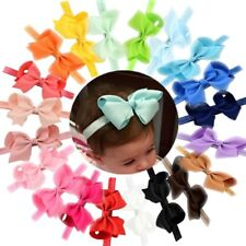 20Pcs Baby Girls Solid Ribbon Hair Bows Headbands Big Bow Hair Bands for Toddler