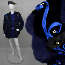 Vintage Fuzzy Beaded Trophy Mohair Wool Pullover Sweater Chunky Knit Coat Deco