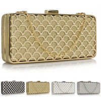 Long Handheld Baguette Metal Clutch Bridesmaid Women Wedding Prom Evening Bag UK