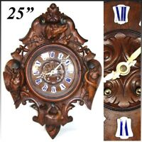 """Antique Victorian Era Black Forest Carved 25"""" Wall or Parlor Clock, Hunt Theme"""