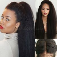 Italian Yaki Kinky Straight Lace Front Wig 100% Remy Human Hair Full Lace Wig G4