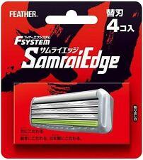 Japanese Feather Safety Razor Rasor F-system Samurai Edge 4 spare Blade Blades
