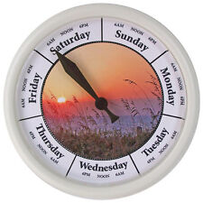 "DAY OF THE WEEK CLOCK Sea Oats #D258W New 10"" Day Clock with white frame"