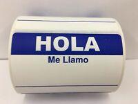 50 Labels 3.5x2.375 BLUE Spanish Hola Me Llamo Name Tag Stickers