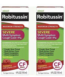 Lot Of 2 Robitussin Maximum Strength Adult Severe Cough Cold Flu 4 oz EXP 08/21