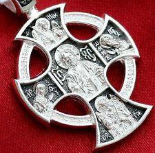 RUSSIAN GREEK ORTHODOX ICON CROSS, STERLING SILVER 925. OLD STYLE - CELTIC SALE