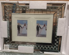 Beautiful Modern Mirrored Glass Floating Crystals Silver Photo Frame/ Home