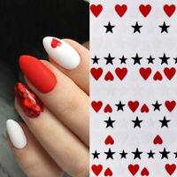 3D Nagel Aufkleber Abziehbilder Dekoration Weiß Rot Heart Star Transfer Nail Art