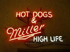 "New Hot Dogs Miller High Life Neon Sign 24""x20"" Lamp Poster Real Glass"