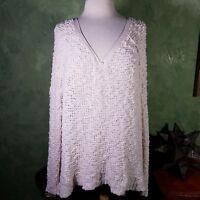 $128 Free People Oversized White Ivory Women Sz M Popcorn Knitted V-Neck Sweater