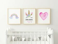 Love Unicorn Personalised Name Nursery Prints Set, Baby Eyelashes Girls Bedroom