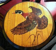 Old Vintage Original Oil Painting Wood Barrel Lid Duck Bird Flight Glenda Parker
