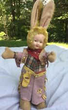 Antique 1920s 1930s Cowboy Bunny Boy Doll Celluloid Face Cloth Body Vintage