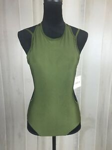 Zaful Women's One Piece Bathing Suit Size Small Olive Green Strap Back