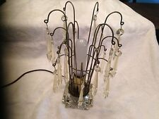 MID CENTURY Glass Base WIRE TABLE LAMP ~ DESK LAMP 1960s 1970s Hanging Crystals