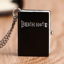 Retro Book Death Note Black Pocket Watch Necklace Pendant Steampunk Gift Fashion