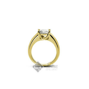 2.51ct F VS2 Princess Natural Diamond 14k Yellow Gold Solitaire Engagement Ring