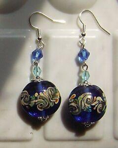 SAPPHIRE BLUE FOIL PEACOCK SWIRLS LAMPWORK GLASS EARRINGS