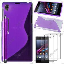 Housse Etui Coque Silicone S-line Violet Sony Xperia Z1 L39H+Stylet+3 Film écran