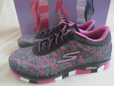 Skechers Go Flex Ability Sneakers Youth Girls 1 Black Hot Pink New Without Box