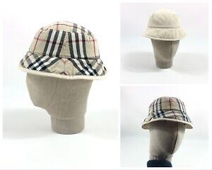 Unisex BURBERRY Nova Check Plaid Reversible Beige Bucket Hat Cap Size 52