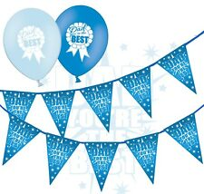"Fathers Day Bunting You Are Best & 12"" Blue Asst Balloons - Badge - pack of 25"