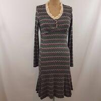 Paquito Striped Dress SZ 44 V Neck Lace Trim Godets Multi-Coloured Stretch Retro