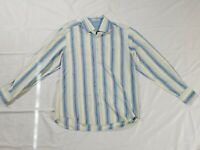 Men's Tommy Bahama 100% Silk Striped Long Sleeve Button up Blue Shirt Large. C8