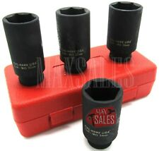 4pc 12 Dr Deep Spindle Axle Nut Socket Set 6 Point Metric 30mm 32mm 34mm 36mm