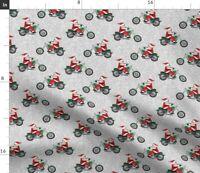 Christmas Funny Santa Motorcycle Santa Claus Spoonflower Fabric by the Yard