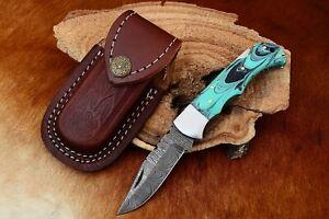 MH KNIVES RARE CUSTOM DAMASCUS STEEL FOLDING/POCKET KNIFE BACK LINER LOCK MH-21F